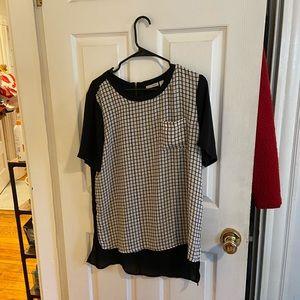 Halogen high low grid blouse